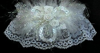 Unique Deluxe Opalescent Sequin White Bridal Garter - White Wedding Garter - White Lace Garter