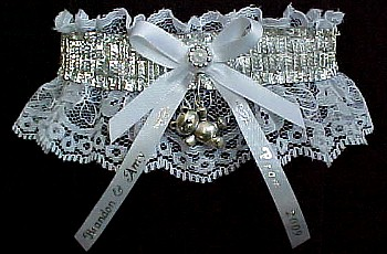 SHINY Silver Metallic Band on White Lace. Glitzy Glitz Metallic Prom Garters.