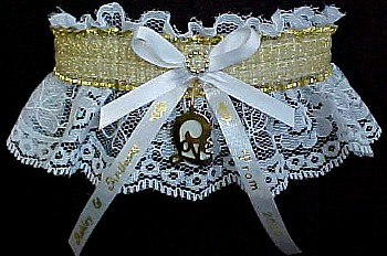 SHEER Gold Metallic Band on White Lace. Totally Glam Metallic Prom Garters.