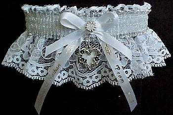 SHEER Silver Metallic Band on White Lace. Totally Glam Metallic Prom Garters.