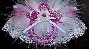 Pink Pearls Valentine Garter with Feathers