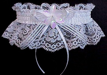 Unique Garter. Keepsake Wedding Gown Fancy Bands� White Opalescent Bridal Garter. White Satin Mini Bow. garter, garders, garder