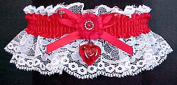 Valentine Garter w/ Red Heart Charm on White Lace
