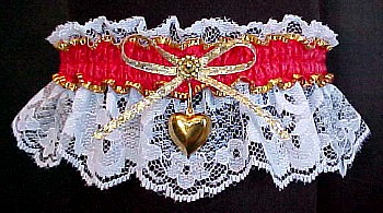 Fancy Bands™ Red & White Garter w/ Gold Puffed Heart Charm on White Lace