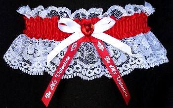 Be My Valentine Garter in White Lace with Red Rhinestone Heart. garder