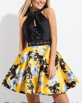 Short Black and Yellow Gold Dress for Homecoming Dance