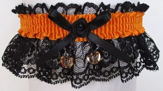 Neon Orange Garter with AB Dbl Hearts on Black Lace for Wedding Bridal Prom