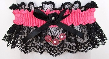 Neon Pink Garter with Pink Faceted Beads Garter on Black Lace for Wedding Bridal Prom