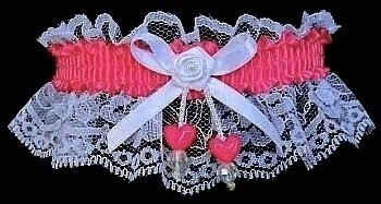 Shocking Pink Double Hearts Garter on White Lace for Wedding Bridal Prom