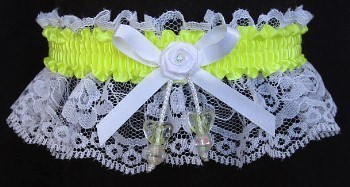 Neon Yellow Garter with AB Yellow Dbl Hearts on White Lace for Wedding Bridal Prom