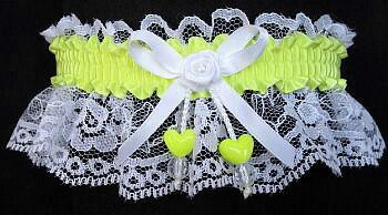 Pineapple Double Hearts Garter on White Lace for Wedding Bridal Prom