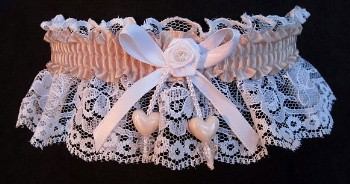Peach Shadow Double Hearts Garter on White Lace for Wedding Bridal Prom