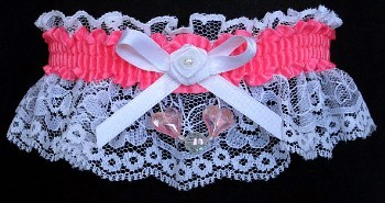 Neon Pink Garter with Pink Aurora Borealis Hearts on White Lace for Wedding Bridal Prom
