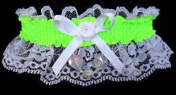 Neon Green Garter with Aurora Borealis Hearts on White Lace for Wedding Bridal Prom