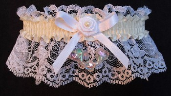 Ivory AB Aurora Borealis Hearts Garter on White Lace for Wedding Bridal Prom