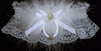 White Lace Wedding Bridal Garter with Silver Beaded Rings & Marabou feathers. garders, garder
