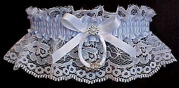 Something Blue Toss Wedding Garter. Silver Beaded Rings.