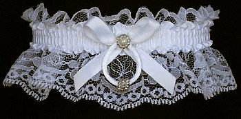 White Lace Wedding Bridal Garter with Silver Beaded Rings. garders, garder