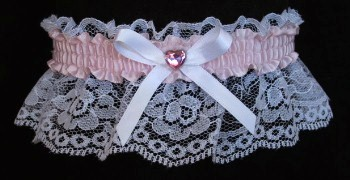 Icy Pink Rhinestone Garter for Prom Wedding Bridal on White Lace