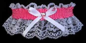 Hot Pink Rhinestone Garter for Prom Wedding Bridal on White Lace