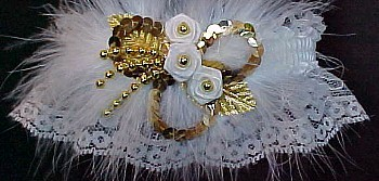 Gold Sequin & Ivory Wedding Bridal Garter with Marabou Feathers. Ivory and Gold Garter. garder