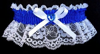 Neon Electric Blue Rhinestone Garter for Prom Wedding Bridal on White Lace