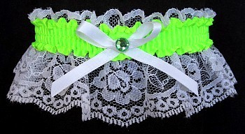 Neon Green Rhinestone Garter for Prom Wedding Bridal on White Lace