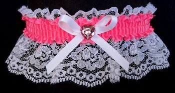 Neon Pink Rhinestone Garter for Prom Wedding Bridal on White Lace