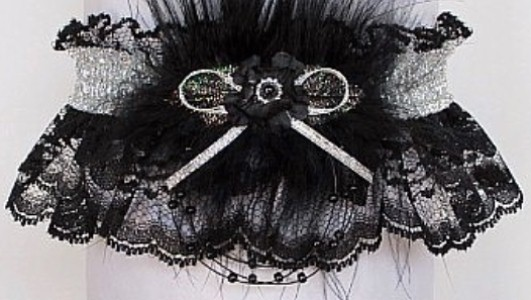 Glitzy glitz 2018 Prom Garter Feature w/ Shiny Silver Metallic band & trim, marabou feathers on black lace. garder, garders