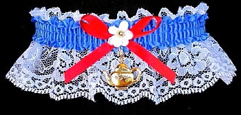Tea Party Garter with Tea Pot Charm. garder, garders
