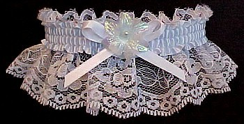 Something Blue Toss Wedding Garter Bridal Garter in white lace with blue trim. garders, garder