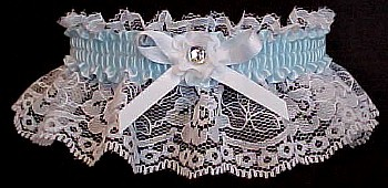 Blue Toss Wedding Garter with Crystal Rhinestone. Blue Bridal Garter. garders, garder