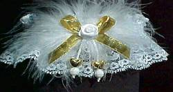 Gold Double Hearts Garters with Metallic Bow and Marabou Feathers on White Lace for Wedding Bridal or Prom.