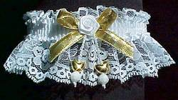 Gold Dbl Hearts Valentine Garter w/ Gold Metallic Bow on White Lace.