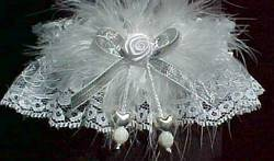 Silver Double Hearts Garters with Marabou Feathers and Silver Metallic Bow on White Lace for Wedding Bridal or Prom.