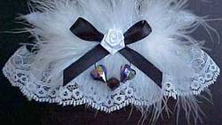 White and Black Garter with Aurora Borealis Hearts and Marabou feathers for Wedding Bridal or Prom.