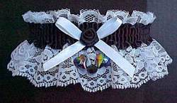 White and Black Garter with Aurora Borealis Hearts for Wedding Bridal or Prom.