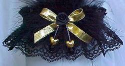 Black and Gold Garters with Gold Double Hearts Gold Metallic Bow with Marabou Feathers. Prom Garter - Wedding Garter - Bridal Garter