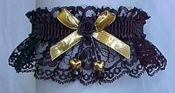 Black and Gold Garters with Gold Double Hearts Gold Metallic Bow. Prom Garter - Wedding Garter - Bridal Garter
