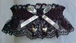 Black and Silver Garter with Silver Double Hearts Silver Metallic Bow. Prom Garter - Wedding Garter - Bridal Garter