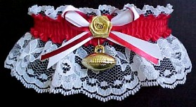 Homecoming Football Garter on White Lace for the Homecoming Dance. Homecoming Court Garters in Your School Colors. garders, garder