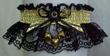 Winter Dance Garter with Sleigh Bells and Gold Metallic Fancy Bands™ on Black Lace. Winter Formal Garter. Winter Ball Garter. garders, garder