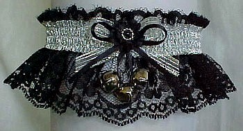 Garter with Sleigh Bells and Silver Metallic Fancy Bands™ on Black Lace. Winter Wedding Garter. Winter Formal Garter. Winter Ball Garter. garders, garder
