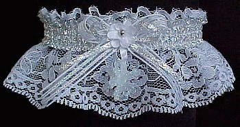 Silver and White Garter with Snowflake. Silver Metallic Fancy Bands™. Winter Wedding Garter. Winter Formal Garter. Winter Ball Garter. garder