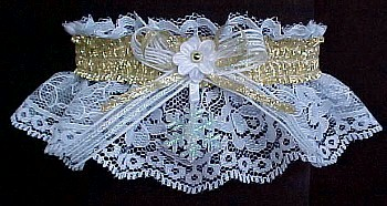 Winter Wedding Garter. Winter Dance Snowflake Garter with Snowflake and Gold Metallic Fancy Bands™ on White Lace. Winter Formal Garter. Winter Ball Garter. garders, garder