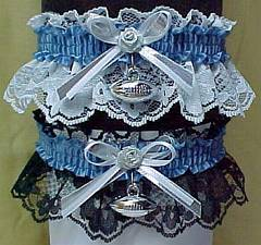 Sports Fan Bands Football Garter in Team Colors for Detroit Lions. garders, garder
