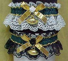 Sports Fan Bands Football Garter in Team Colors for Green Bay Packers. garders, garder