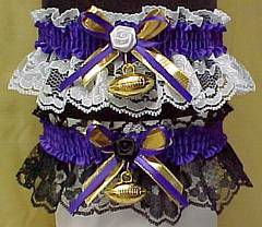 Sports Fan Bands Football Garter in Team Colors for Minnesota Vikings. garders, garder