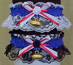 Sports Fan Bands Football Garter in Team Colors for New York Giants. garders, garder