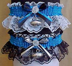 Sports Fan Bands™ Football Garter in Team Colors for Carolina Panthers. garders, garder